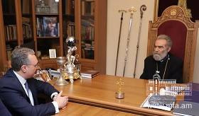The meeting of Zohrab Mnatsakanyan with the Primate of the Artsakh Diocese of the Armenian Apostolic Church