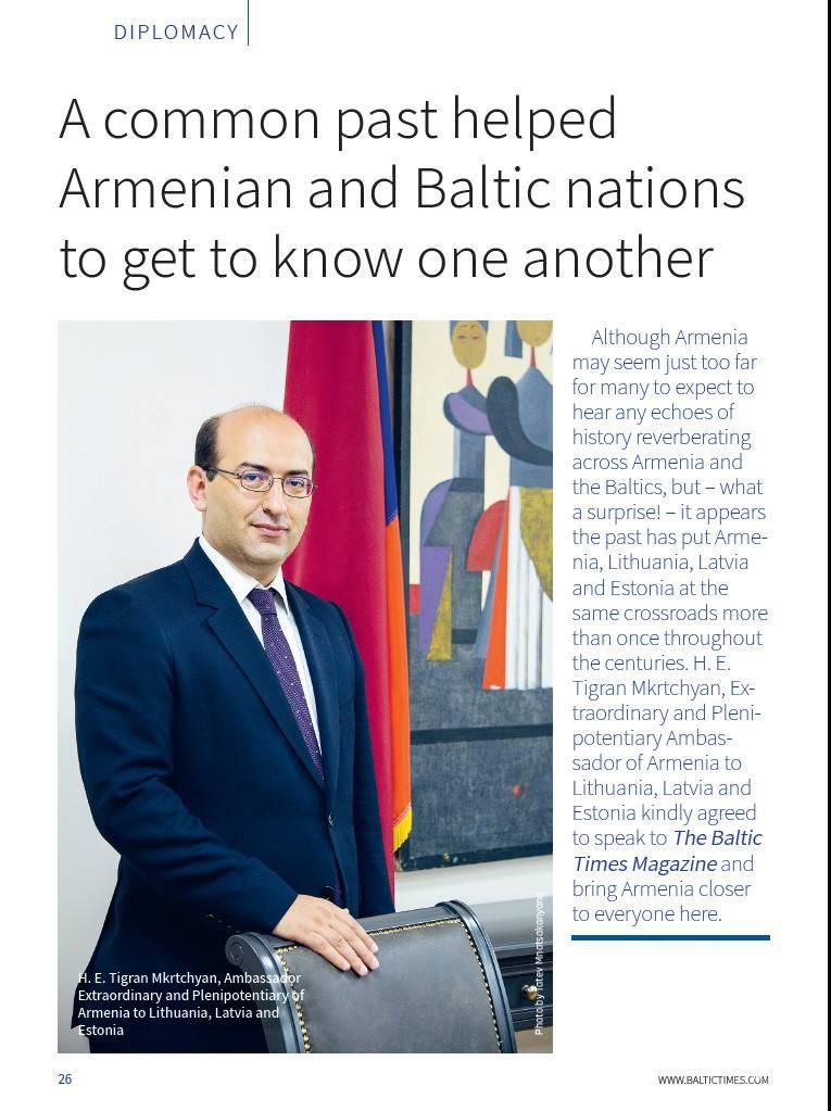 The Baltic Times ամսագրում լույս է տեսել դեսպան Տիգրան Մկրտչյանի հարցազրույցը