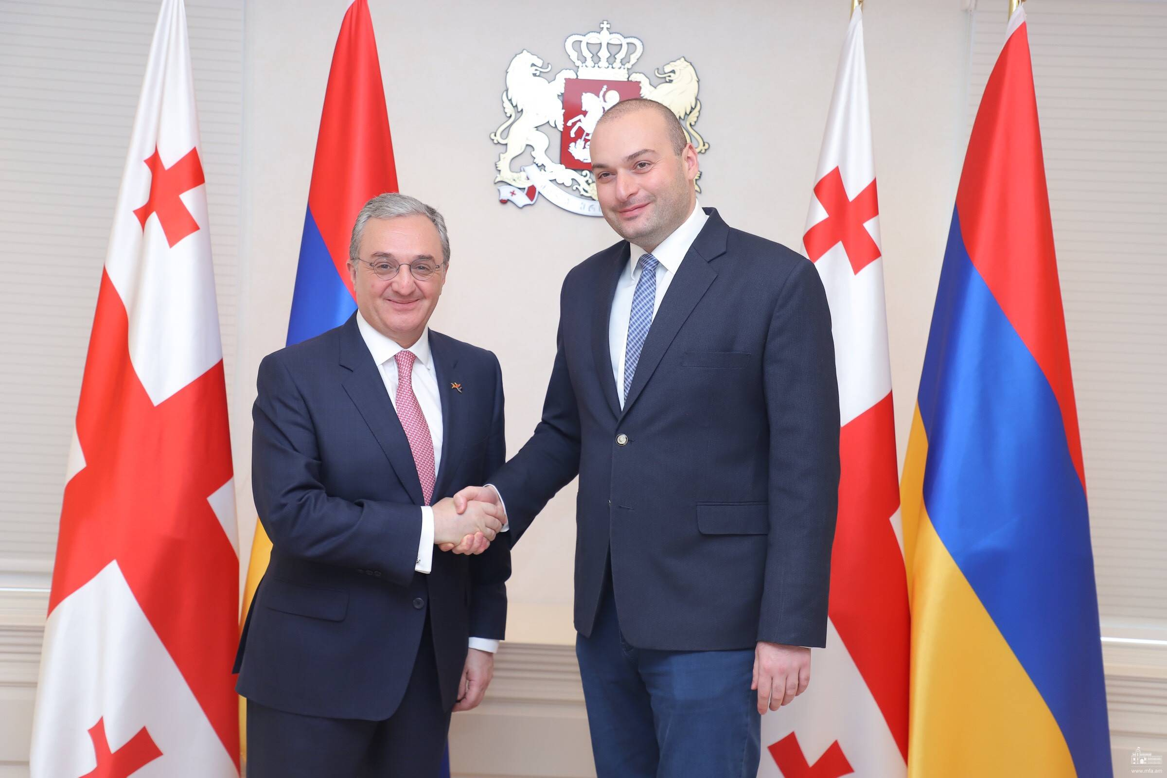 The meeting of Zohrab Mnatsakanyan with Mamuka Bakhtadze, the Prime Minister of Georgia