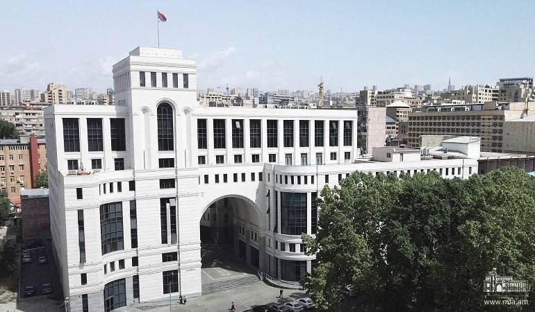 Déclaration du ministère des Affaires étrangères d'Arménie