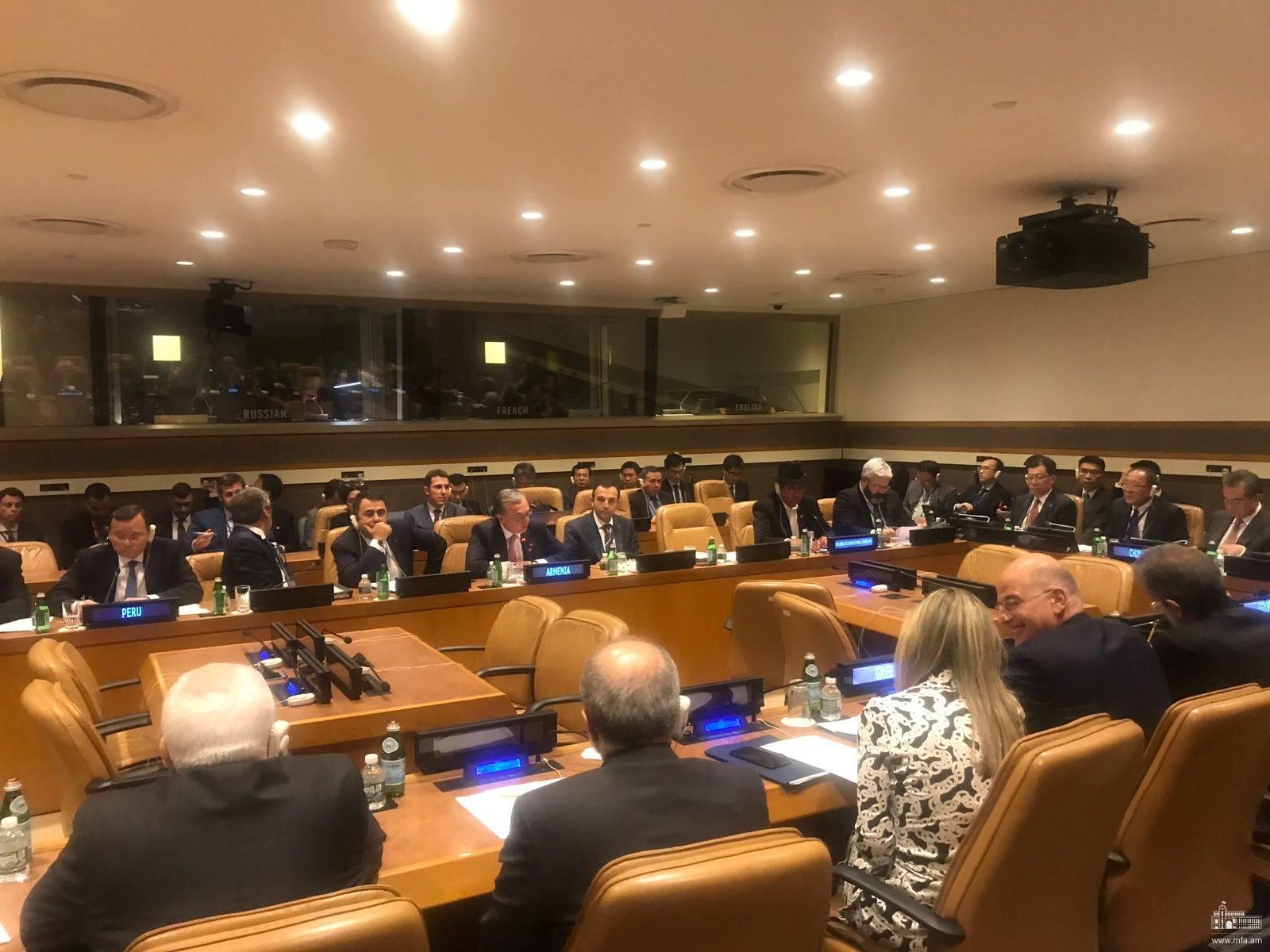 Զոհրաբ Մնացականյանը մասնակցեց ՄԱԿ Գլխավոր ասամբլեայի 74-րդ նստաշրջանի ընթացքում  «Հնագույն քաղաքակրթությունների ֆորում» ԱԳ նախարարների հանդիպմանը