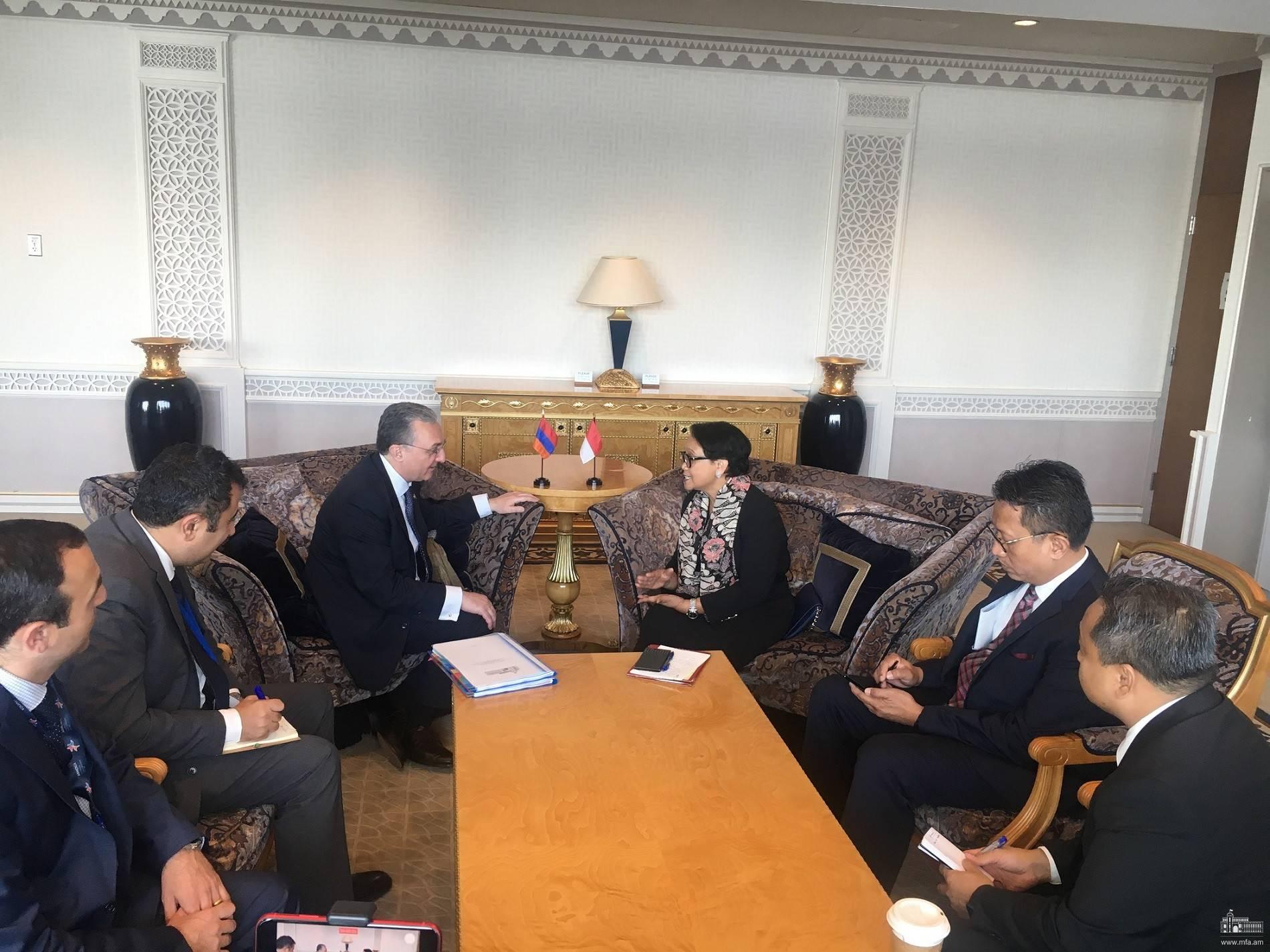 Встреча Министра иностранных дел Зограба Мнацаканяна  с Министром иностранных дел Индонезии Ретно Марсуди