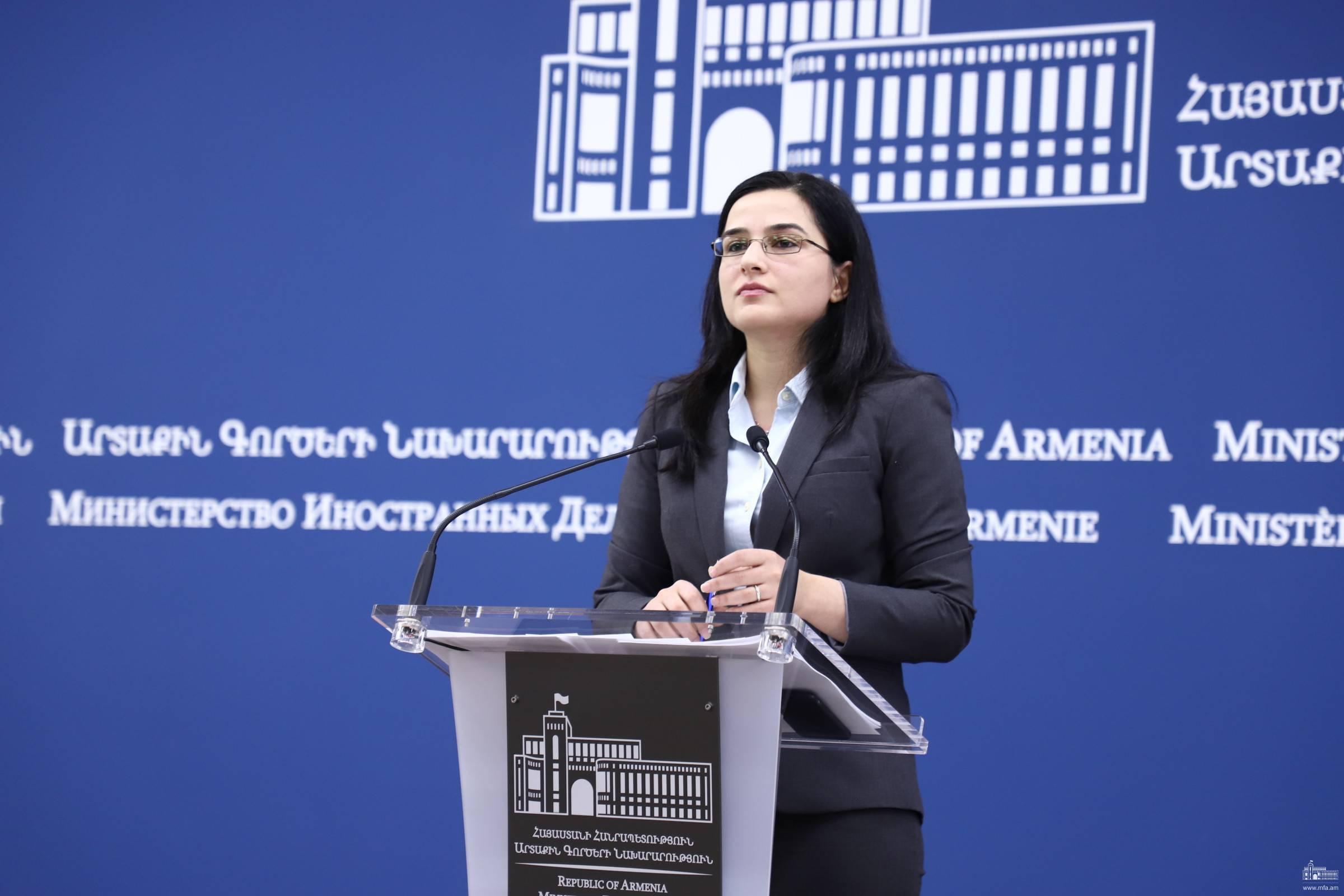 Комментарий Пресс-секретаря МИД Армении относительно заявления Министра иностранных дел Словакии о проведении встречи Министров иностранных дел Армении и Азербайджана в Братиславе