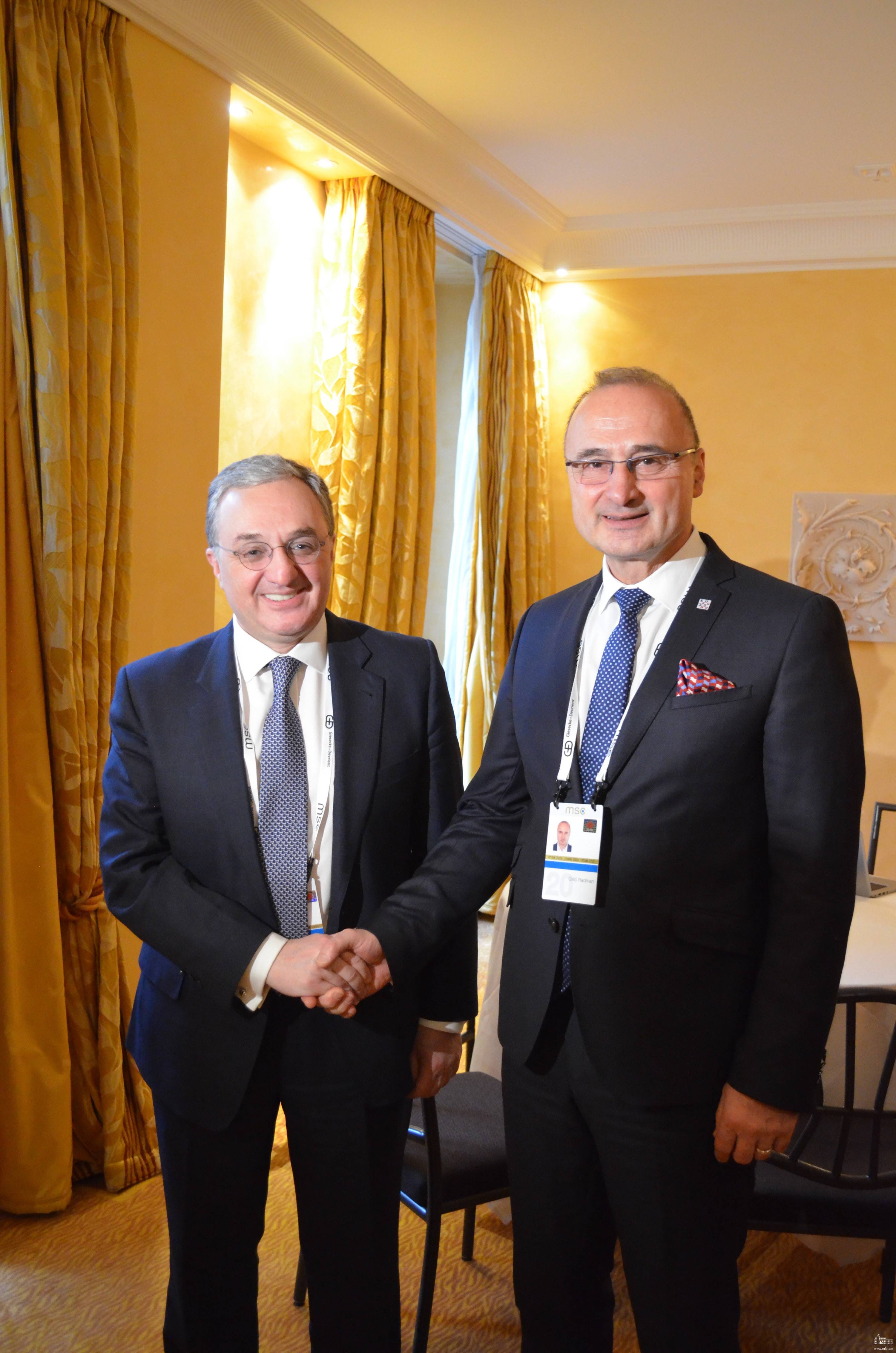 Meeting of the Foreign Minister of Armenia with Gordan Grlić Radman, Minister of Foreign and European Affairs of Croatia