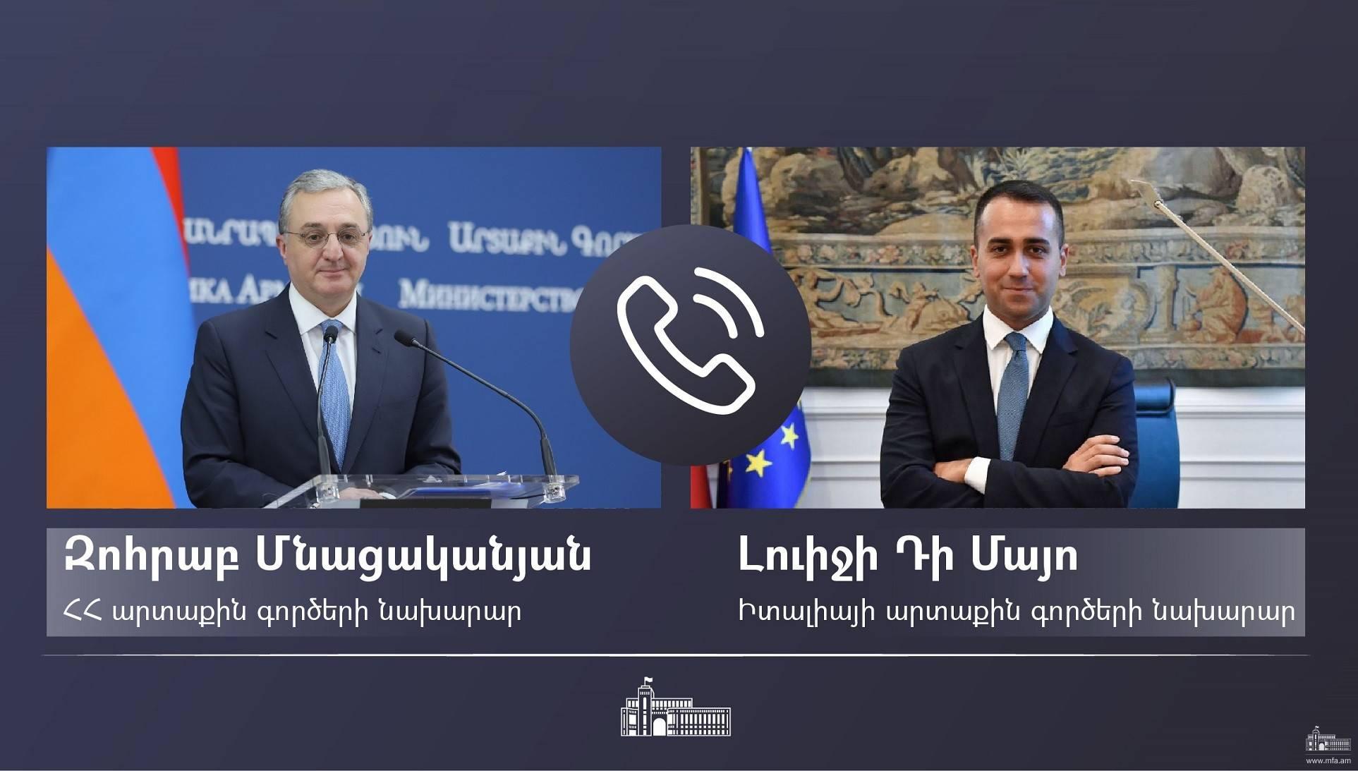 Entretien téléphonique entre le ministre des Affaires étrangères d'Arménie et son homologue italien
