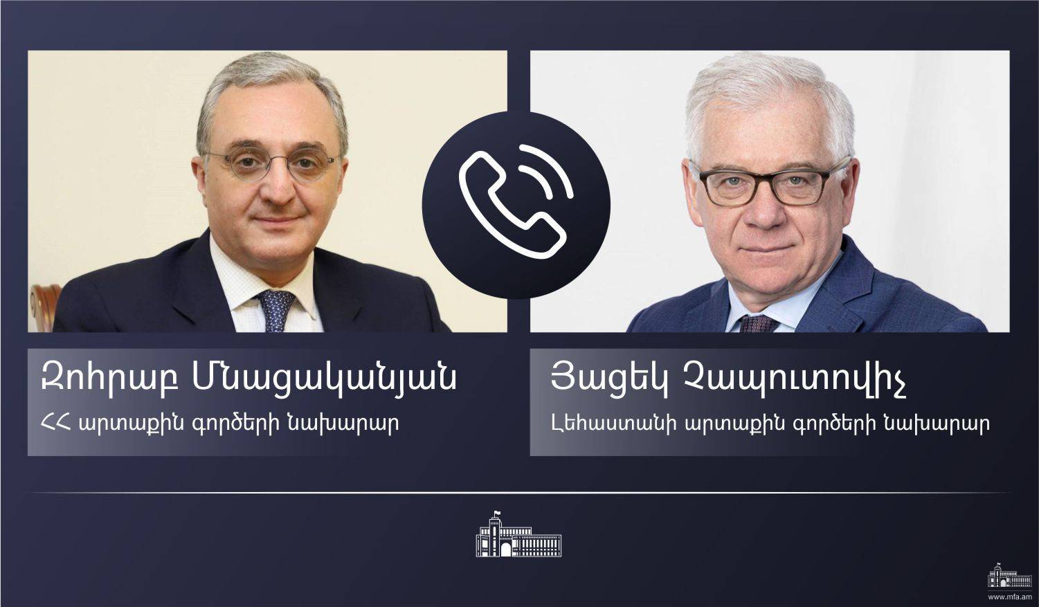 Foreign Minister Zohrab Mnatsakanyan's phone conversation with Foreign Minister of Poland Jacek Czaputowicz