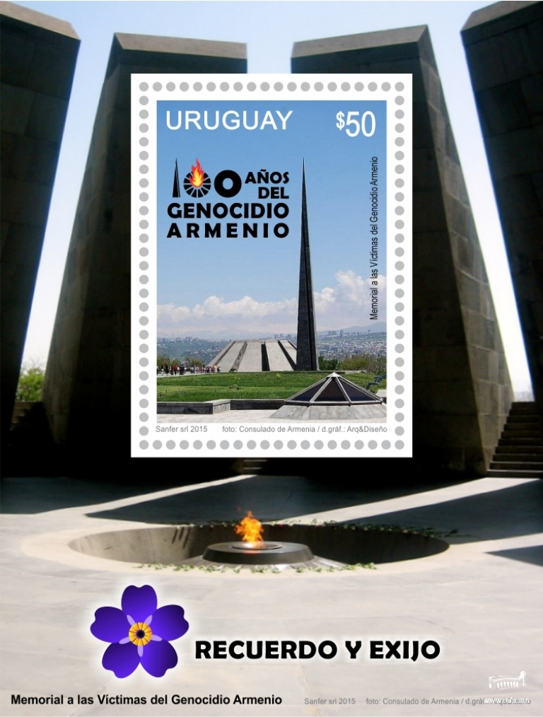 Stamp dedicated to the 100th anniversary of the Armenian Genocide redeemed in Uruguay