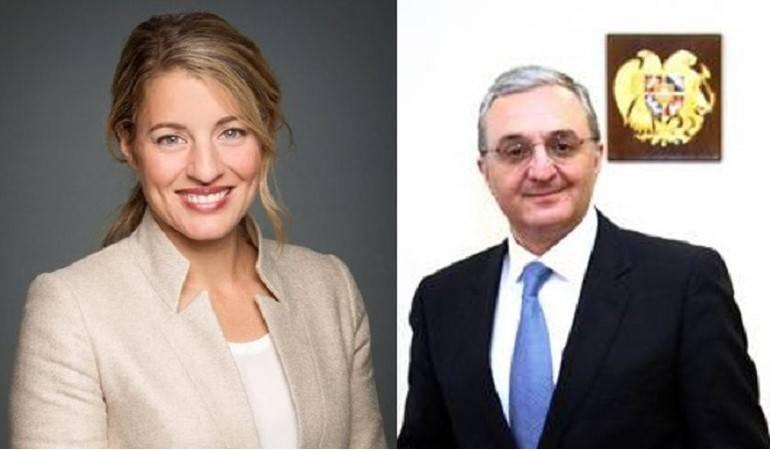 Entretien téléphonique du Ministre des Affaires étrangères d'Arménie, Zohrab Mnatsakanyan avec la Ministre de la Francophonie du Canada, Mélanie Joly