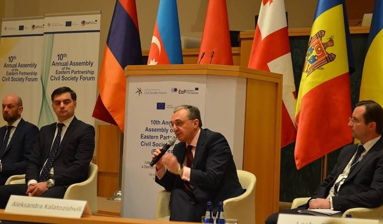 Զոհրաբ Մնացականյանը ելույթ ունեցավ Թբիլիսիում կայացած Արևելյան գործընկերության Քաղաքացիական հասարակության ֆորումին