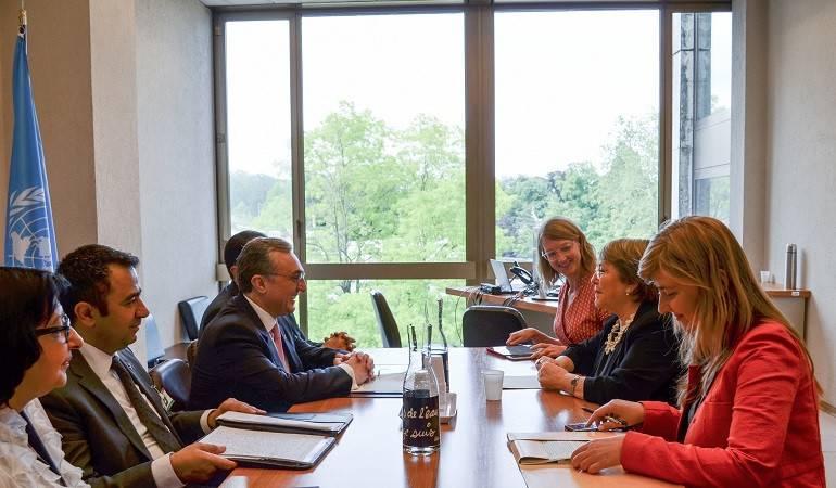 Встреча Министр иностранных дел Зограба Мнацаканяна с  Верховным комиссаром ООН по правам человека Мишель Бачелет
