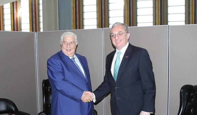 Foreign Minister Zohrab Mnatsakanyan's meeting with the Deputy Prime Minister, Foreign Minister of Syria Walid Al Mualem