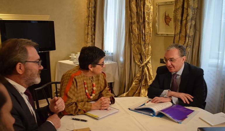 Meeting of Foreign Minister of Armenia Zohrab Mnatsakanyan with Arancha González Laya, Minister for Foreign Affairs, European Union and Cooperation of the Kingdom of Spain
