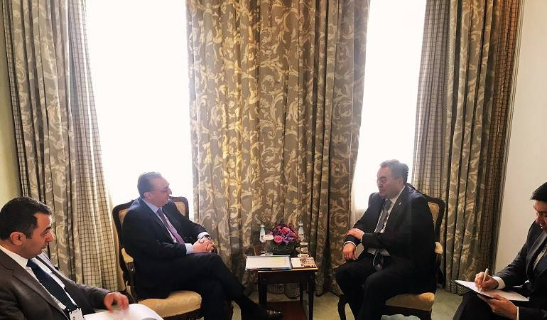 The meeting of Foreign Minister Zohrab Mnatsakanyan with Mukhtar Tleuberdi, the Foreign Minister of Kazakhstan.