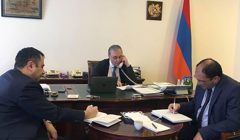 Phone conversation of Zohrab Mnatsakanyan with Foreign Minister of Iran Mohammad Javad Zarif