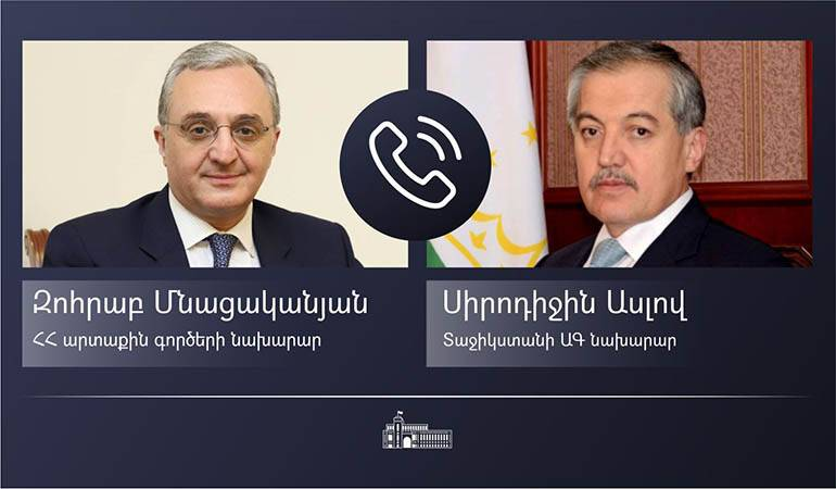 Phone conversation of Foreign Minister Zohrab Mnatsakanyan with the Foreign Minister of Tajikistan