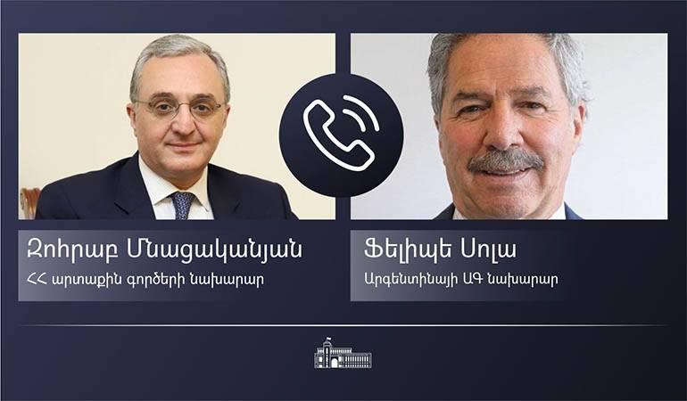 Zohrab Mnatsakanyan's phone conversation with his Argentinian counterpart
