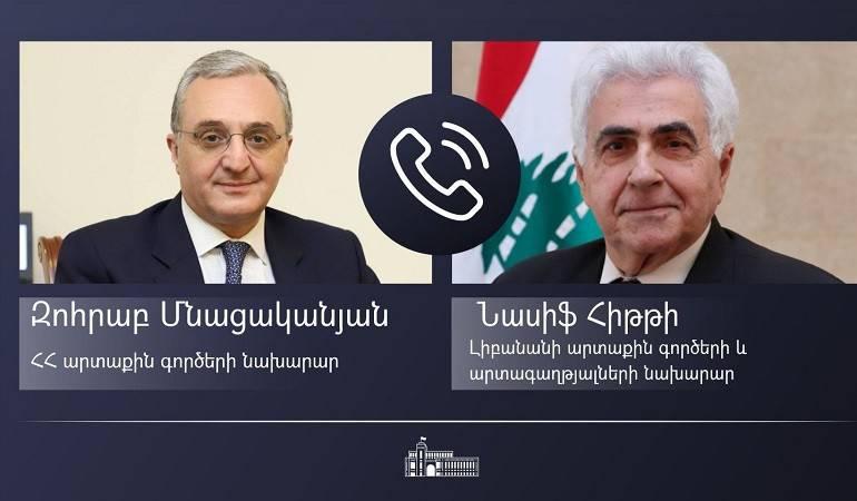Телефонный разговор Министра иностранных дел Армении Зограба Мнацаканяна с  Министром иностранных дел и по делам эмигрантов Ливана Насифом Хитти