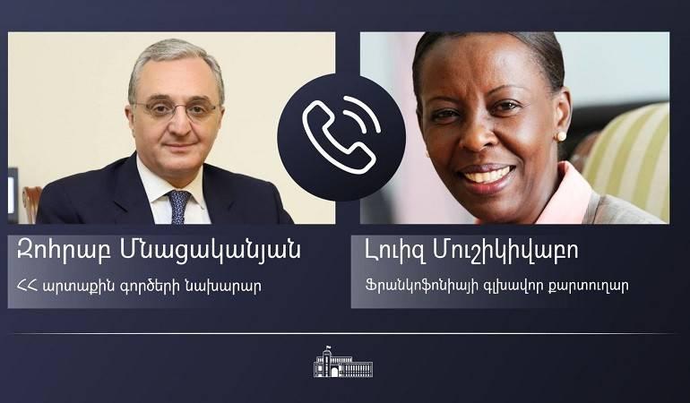Le ministre des Affaires étrangères d'Arménie a eu un entretien téléphonique avec la Secrétaire générale de la Francophonie