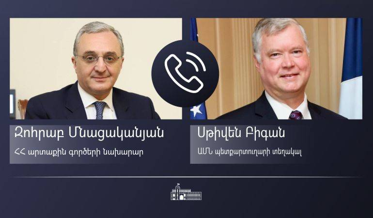 Minister of Foreign Affairs Zohrab Mnatsakanyan's phone conversation with the United States Deputy Secretary of State Stephen Biegun