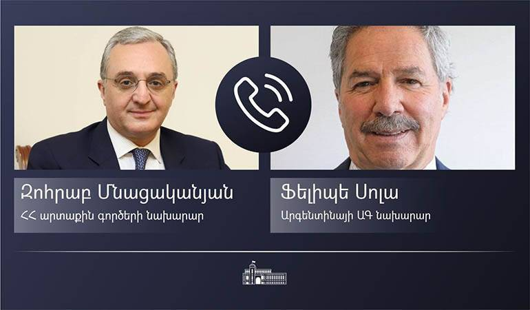 Телефонный разговор министра иностранных дел РА Зограба Мнацаканяна с министром иностранных дел, международной торговли и религии Аргентины Фелипе Сола