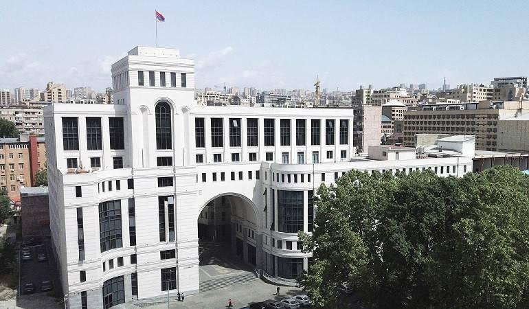 La déclaration du ministère des affaires étrangères d'Arménie