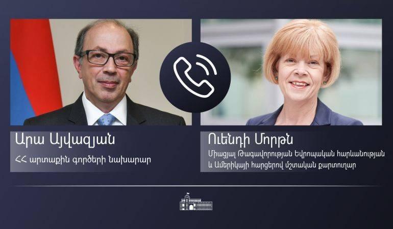 ԱԳ նախարար Արա Այվազյանի հեռախոսազրույցը Միացյալ Թագավորության Խորհրդարանական Փոխպետքարտուղար (Եվրոպական հարևանության և Ամերիկայի հարցերով նախարար) Ուենդի Մորթնի հետ