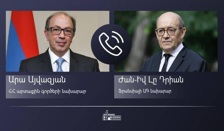 ԱԳ նախարար Արա Այվազյանի հեռախոսազրույցը Ֆրանսիայի ԱԳ նախարար Ժան-Իվ Լը Դրիանի հետ