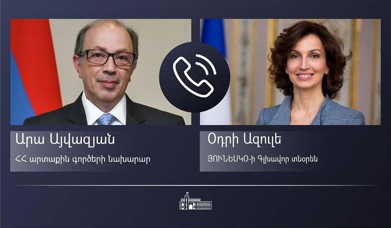 ԱԳ նախարար Արա Այվազյանի հեռախոսազրույցը ՅՈՒՆԵՍԿՕ-ի Գլխավոր տնօրեն Օդրի Ազուլեի հետ