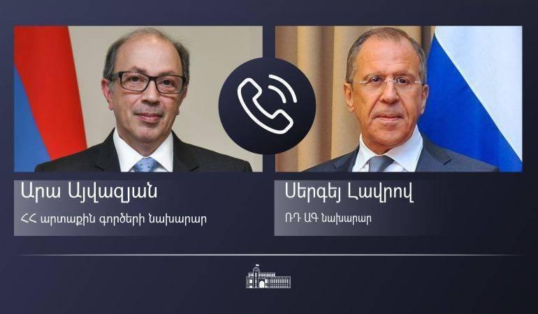 Телефонный разговор министра иностранных дел Армении Ара Айвазяна и министра иностранных дел России Сергея Лаврова