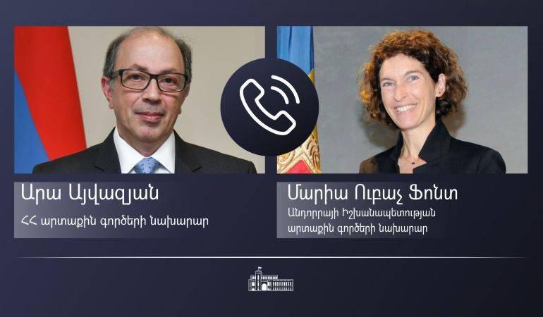Телефонный разговор министра иностранных дел Армении Ара Айвазяна  с министром иностранных дел Княжества Андорры Марией Убах Фонт