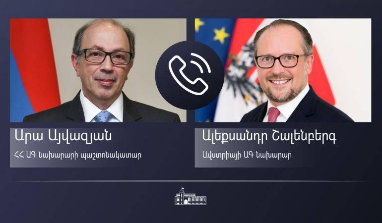Phone conversation of Acting Foreign Minister of Armenia Ara Aivazian with Foreign Minister of Austria Alexander Schallenberg.