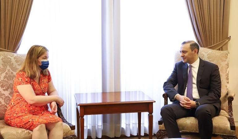 Встреча исполняющего обязанности министра иностранных дел Армена Григоряна с французским депутатом Европарламента Натали Луазо