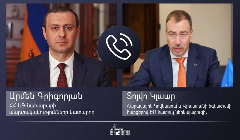ԱԳ նախարարի պարտականությունները կատարող Արմեն Գրիգորյանի հեռախոսազրույցը Հարավային Կովկասում և Վրաստանի ճգնաժամի հարցերով ԵՄ հատուկ ներկայացուցիչ Տոյվո Կլաարի հետ