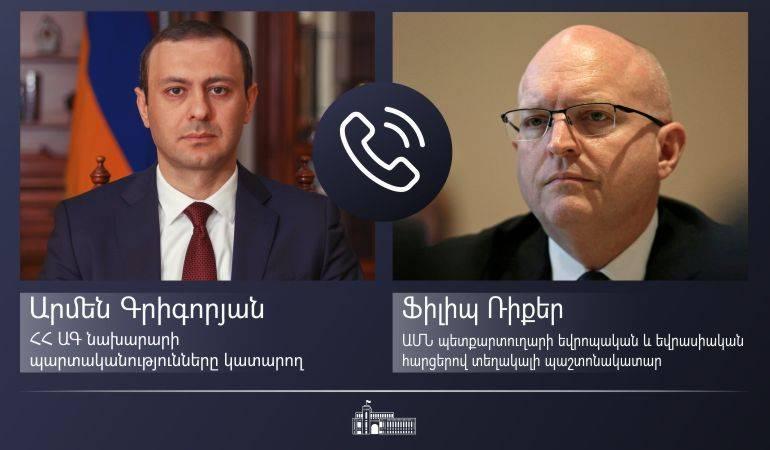 Исполняющий обязанности министра иностранных дел Армен Григорян провел телефонный разговор с исполняющим обязанности заместителя госсекретаря США по европейским и евразийским вопросам Филиппом Рикером