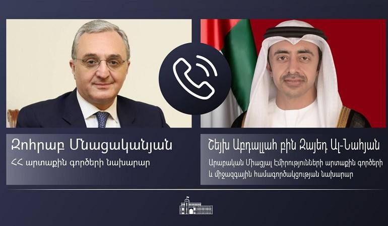 Phone conversation of Foreign Minister Zohrab Mnatsakanyan and Sheikh Abdullah Bin Zayed Al Nahyan, Minister of Foreign Affairs and International Cooperation of the United Arab Emirates