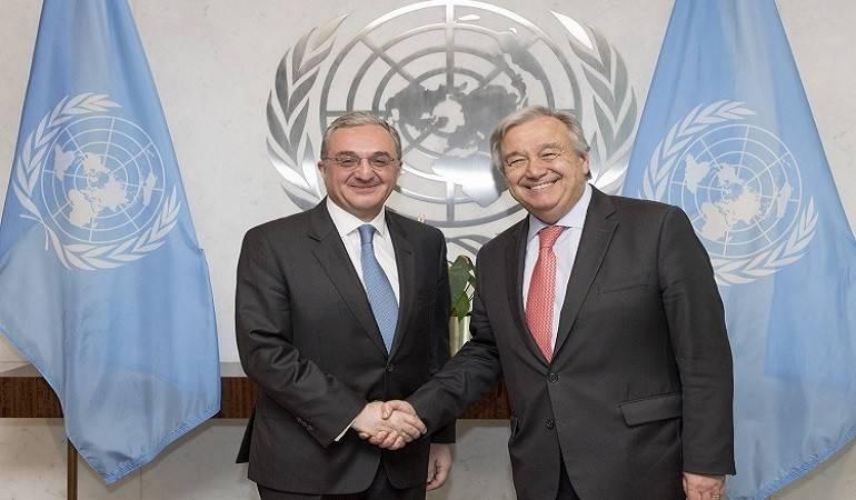 ԱԳ նախարար Զոհրաբ Մնացականյանի հեռախոսազրույցը ՄԱԿ-ի Գլխավոր քարտուղար Անտոնիո Գուտերեշի հետ